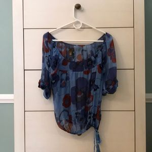 Anthropologie Silk Floral Blouse Size 8
